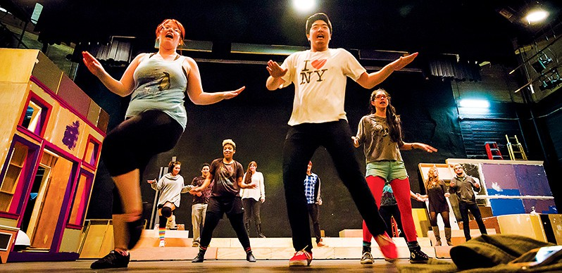 """Matt Chan/ Courier Center stage, lead actors Jessica Young and David Park practice their song and dance routine for the upcoming PCC Musical Theatre Production of """"Hairspray"""" directed by Richard Kuller inside the Sexson Auditorium Feb 08. The show premiers Feb 20, 2013."""