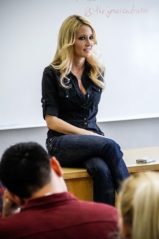 Justin Clay / Courier Adult film actress Jessica Drake gives a lecture in PCC's C Building on  March 20. Drake spoke to Hugo Schwyzer's humanities 3 class about the adult film industry as well as other topics.