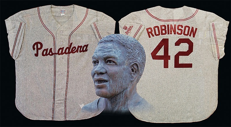Benjamin Simpson/Courier Photo Illustration - Jackie Robinson's jersey from his time at PCC and sports hall of fame bust on PCC campus.