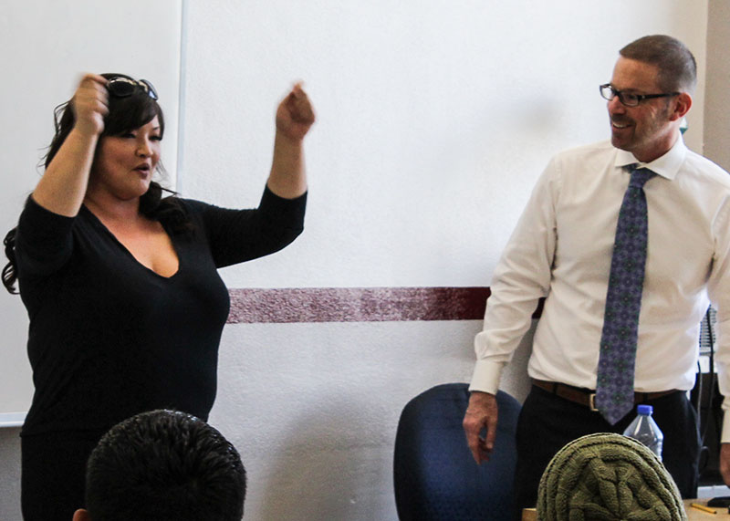John Novak / Courier Adult film star Kelly Shibari discusses issues such as bullying, body image and sex at Professor Hugo Schwyzer's Humanities 3 class on Wednesday, March 27.