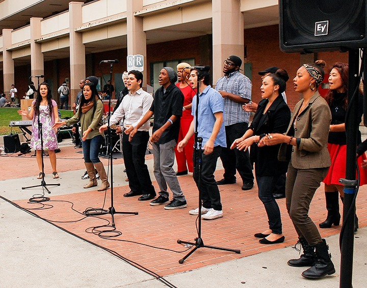 Daniel Valencia / Courier Betty Keller's choir class performs in the quad around noon on tuesday.