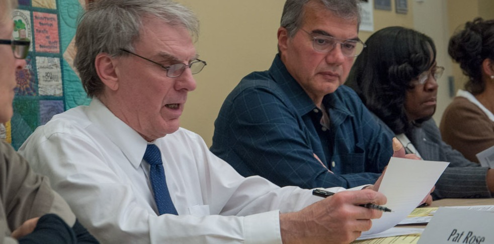 Concepcion Gonzalez/Courier Dan Haley, left, Eduardo Cario, talk about the boycott aganist the Committe on Academic and Professional Matters (CAPM) meetings, on Monday.