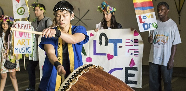 Takeo Drummers perform for members and guest of All Saints Church in the parking lot of a Pasadena art gallery during the MLK march. (Osborne/Courier)