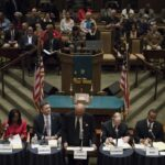 The candidates for the Mayor of Pasadena at the start of the Community Debate at the First AME Church on North Raymond Avenue in Pasadena, Calif. on Thursday, January 29, 2015. PCC's Bill Thomson, a Trustee is running and the church was filled to capacity. (Erica Hong/Courier)