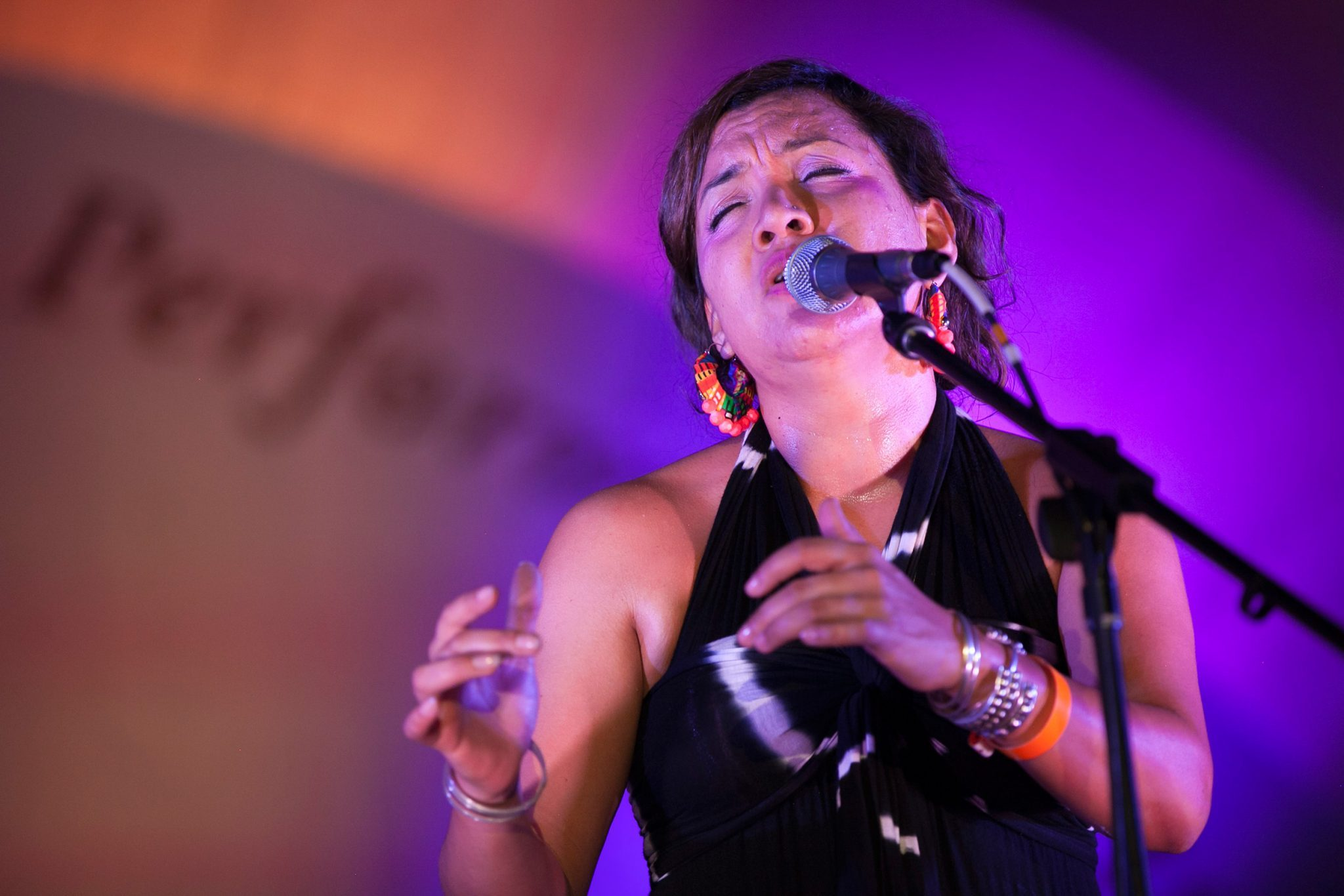 Katja Liebing/Courier Martha Gonzales, lead singer of the band Quetzal, performs at the Levitt Pavilion during the free summer concert series in Pasadena on September 12, 2015.