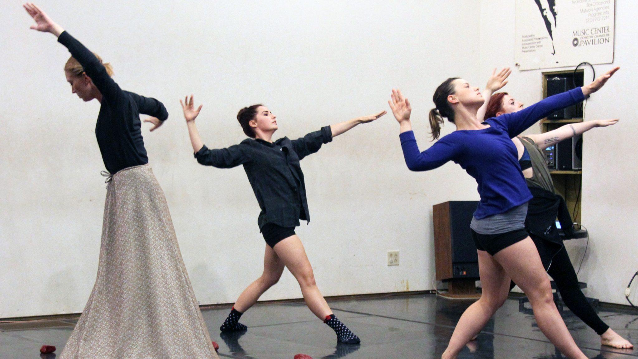 Monique A. LeBleu Rachelle Donofrio of DanceArt rehearses at the former Bella Lewitski Dance Studios for an upcoming show, Universal City, Monday, November 1, 2015.