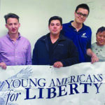 Contributed by Young American for Liberty Left to right: Young Americans for Liberty Parliamentarian and Outreach Director Marshall Roe, Vice President Victor Reyes, Co-founder and President Woodrow Johnston II, club Treasurer Karen Kim of the PCC chapter of YAL.