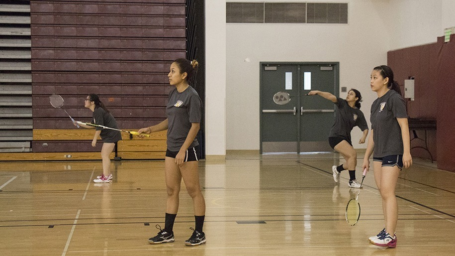 Guadalupe Alvarez/Courier Eugenia Mendez a member of the Pasadena City College Badminton team playing against El Camino College in the Hutto-Patterson Gymnasium in Pasadena City College on Wednesday March 23, 2016.