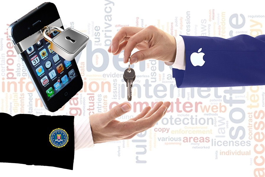 Katja Liebing/Courier - Illustration showing Apple handing over the key that unlocks the iphone to the FBI. Apple CEO Tim Cook has refused to comply with a court order to create a backdoor into the iOS software in order to unlock the iphone of the accused San Bernardino shooters.