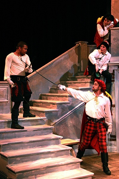 Monique A. LeBleu/Courier Tybalt (Julian Traylor), left, and sometime-foe, sometime-comic relief, Mercutio (Mark Samet) center, spar between rivalry and family ribbings in Shakespeare's Romeo and Juliet at the Center for the Arts on Thursday, February 25, 2016.