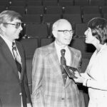 Photo courtesy of PCC Archives/Shatford Library Roland Sink, J. Ray Risser, and Dorothy Kolts at Pasadena City College. Dorothy Kolts and Roland Sink happily receive the J. Ray Risser Award at Pasadena City College.