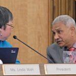 Trustee President Linda Wah and PCC President Rajen Vurdien speak during the Board of Trustees meeting on November 30, 2016. (Katja Liebing/Courier)
